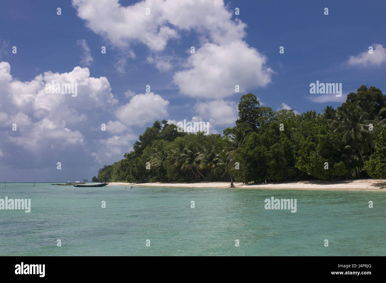 Boots, coast, turquoise-blue, Indian ocean, Havelock Insel, Andamanen, India, - Stock Image