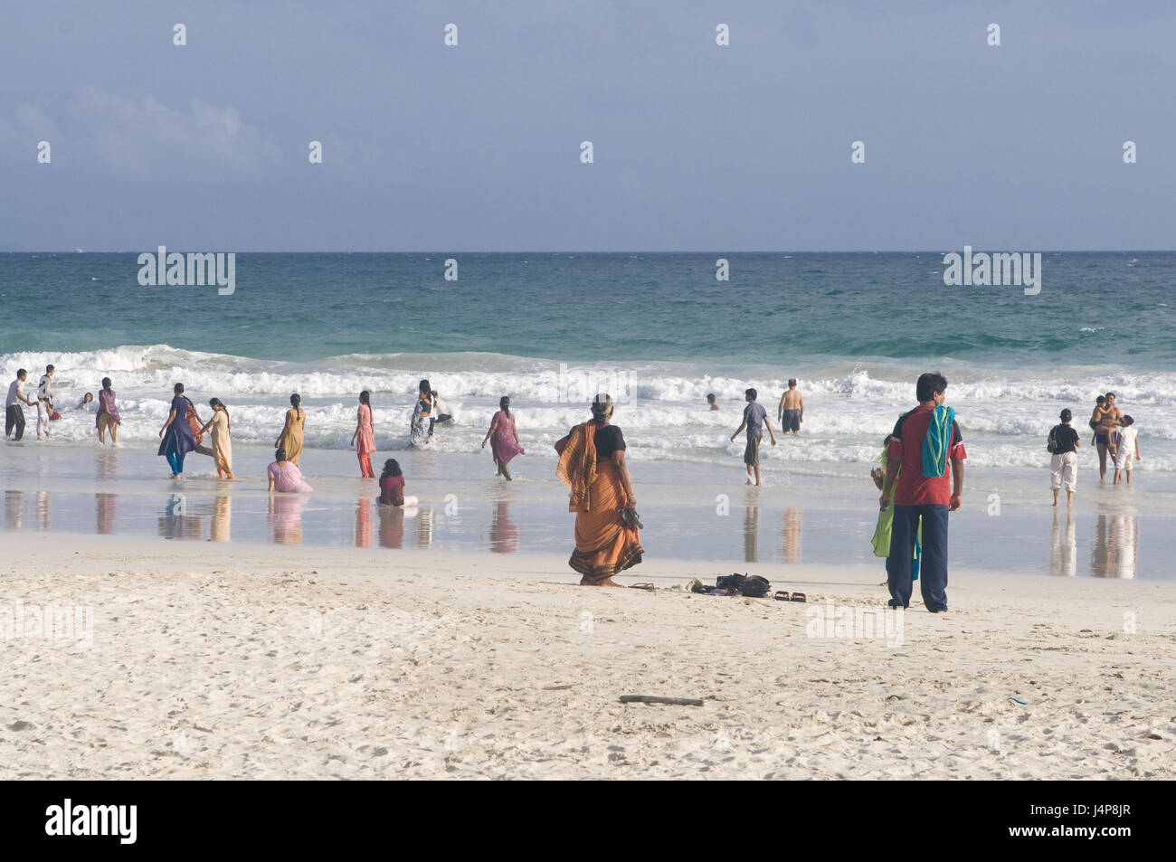 Sandy beach, Radha Nagar, Indian ocean, person, Havelock Insel, Andamanen, India, no model release, - Stock Image
