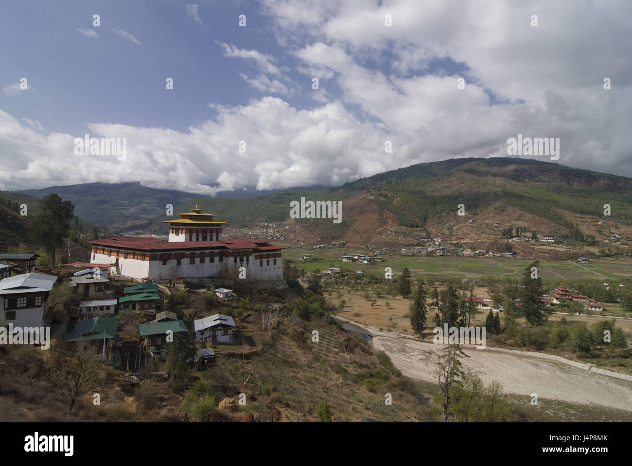 Buddhist monastery, Paro, Bhutan, Stock Photo