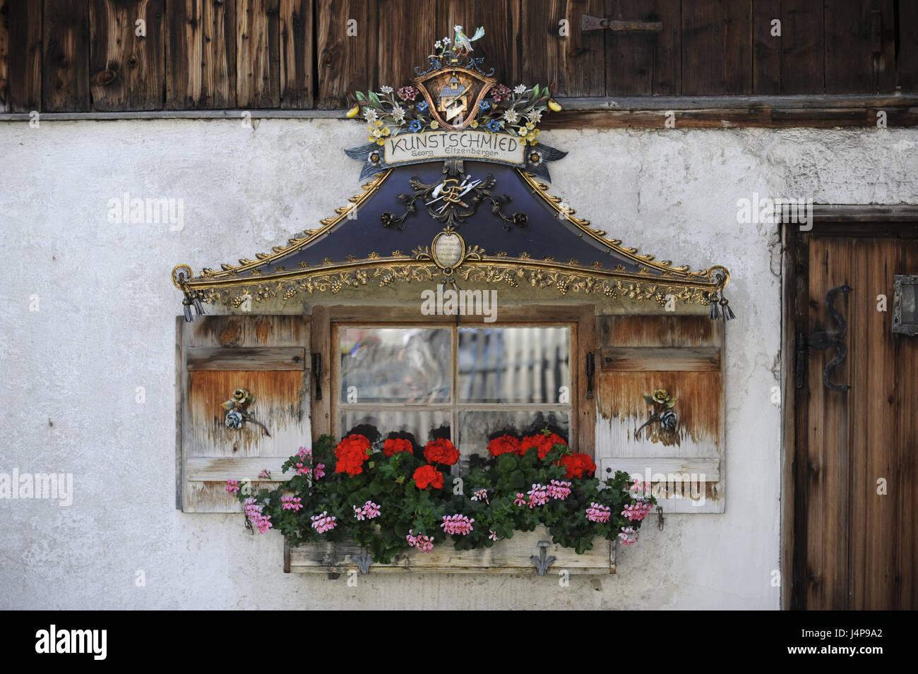Art smiths, bay windows, house facade, Garmisch-Partenkirchen, - Stock Image