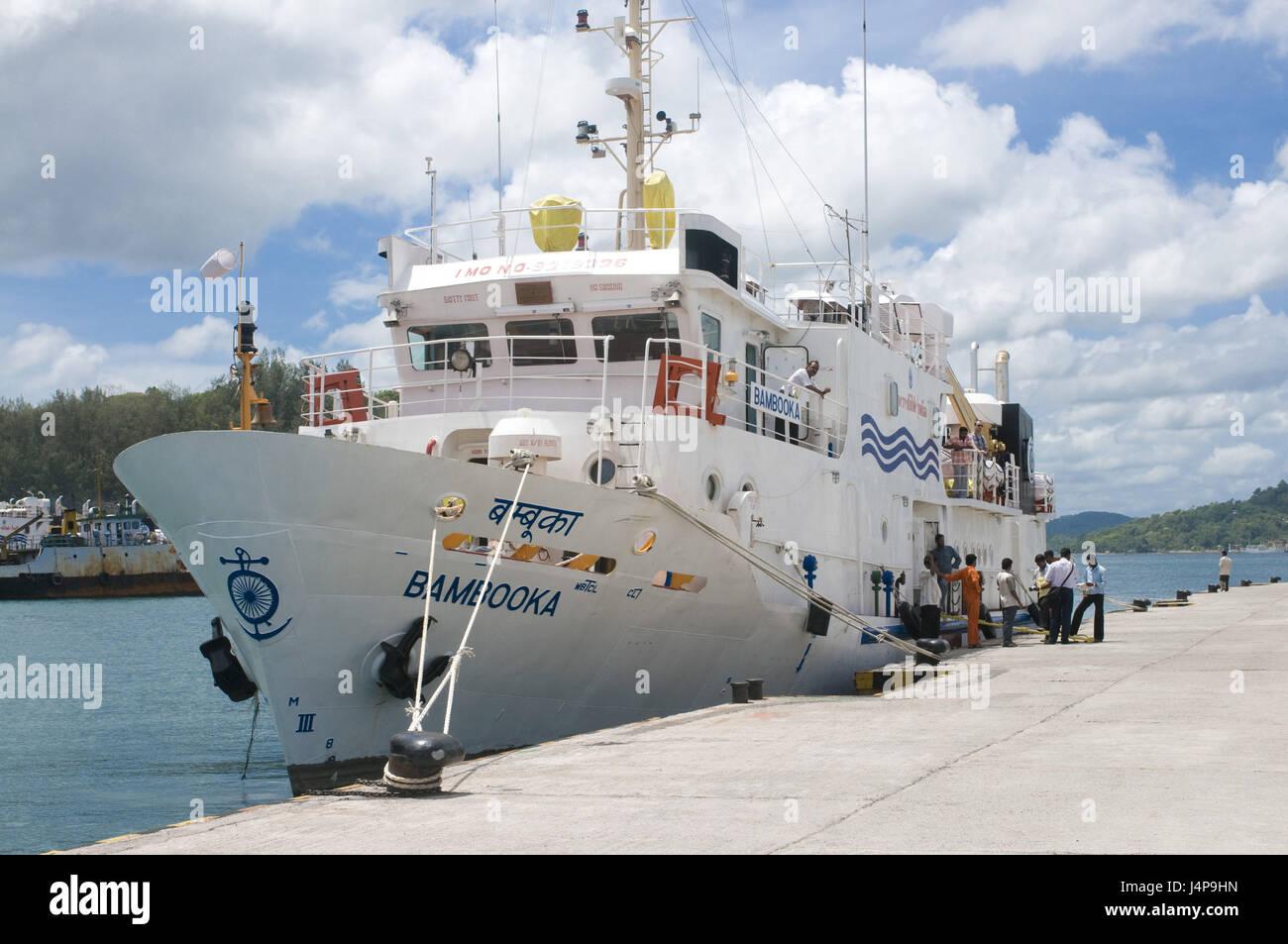 Ferryboat, harbour, port Blair, Andamanen, India, - Stock Image