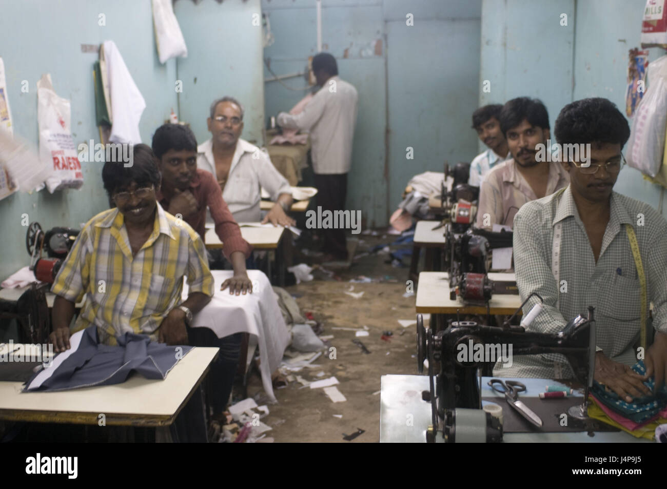 Needlework, locals, work, port Blair, Andamanen, India, no model release, - Stock Image