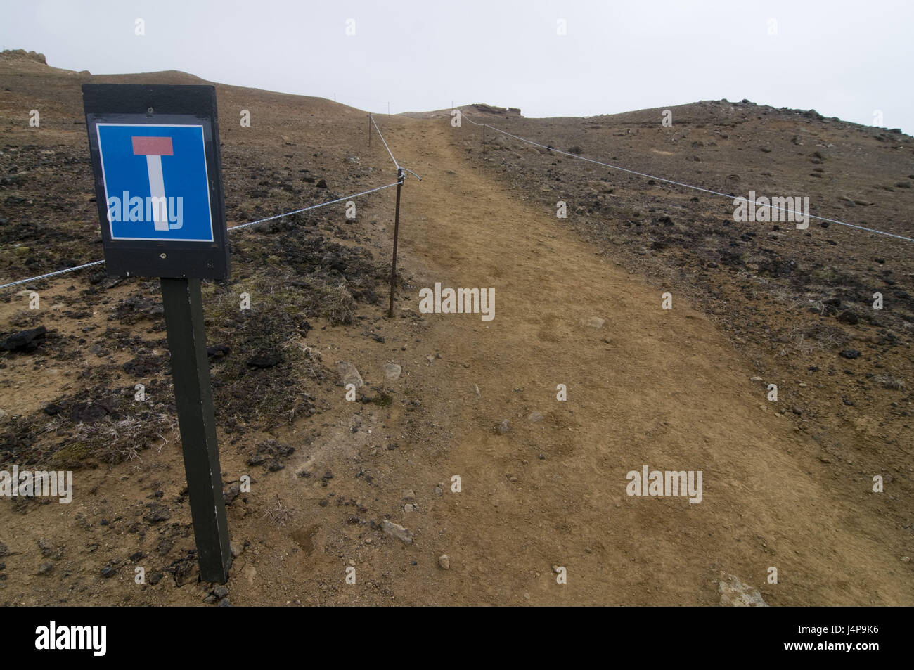 Sign, dead end, volcanically, scenery, basalt, Krafla, Iceland, - Stock Image