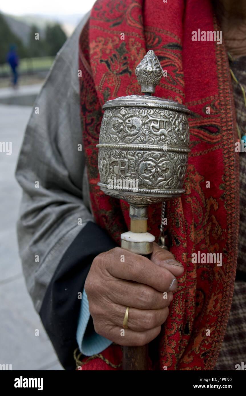 Pilgrim, detail, hand, prayer mill, hold, Thimpu, Bhutan, no model release, Stock Photo