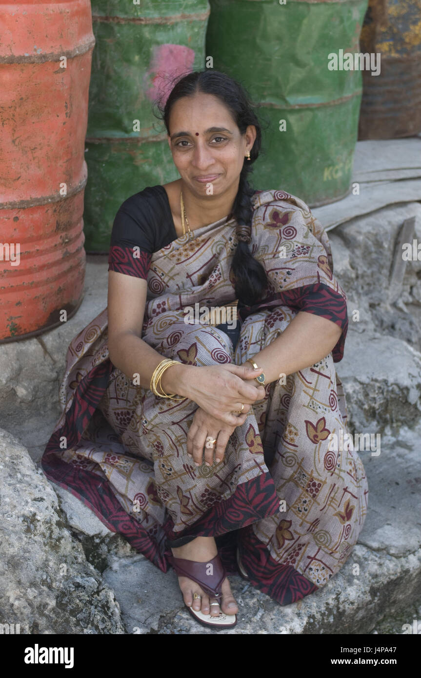 Woman, shyly, smile, Havelock Insel, Andamanen, India, no model release, - Stock Image