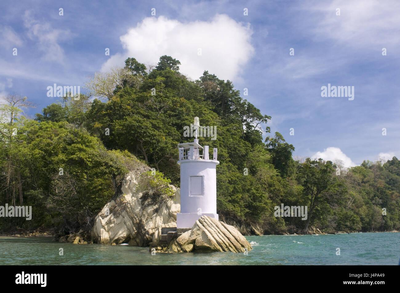 Lighthouse, coast, Havelock Insel, Andamanen, India, - Stock Image