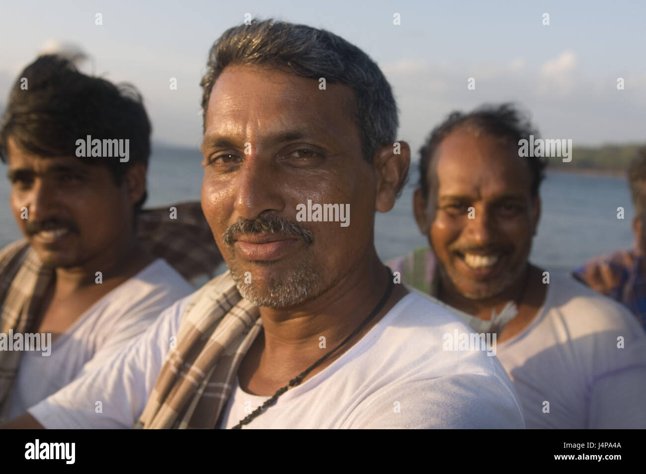 Men, smile, portrait, port Blair, Andamanen, India, no model release, - Stock Image