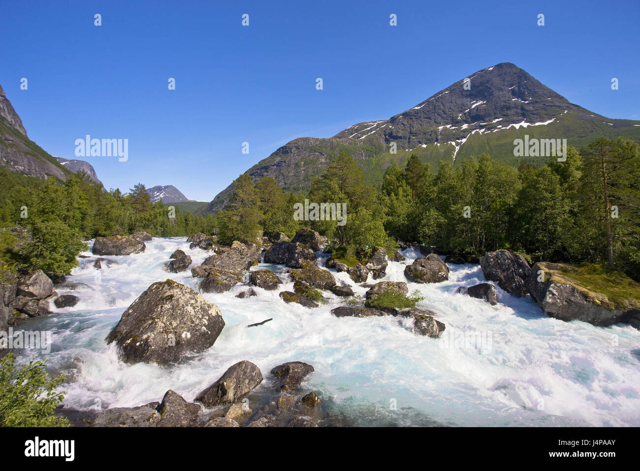 Norway, More og Romsdal, waterfall, - Stock Image