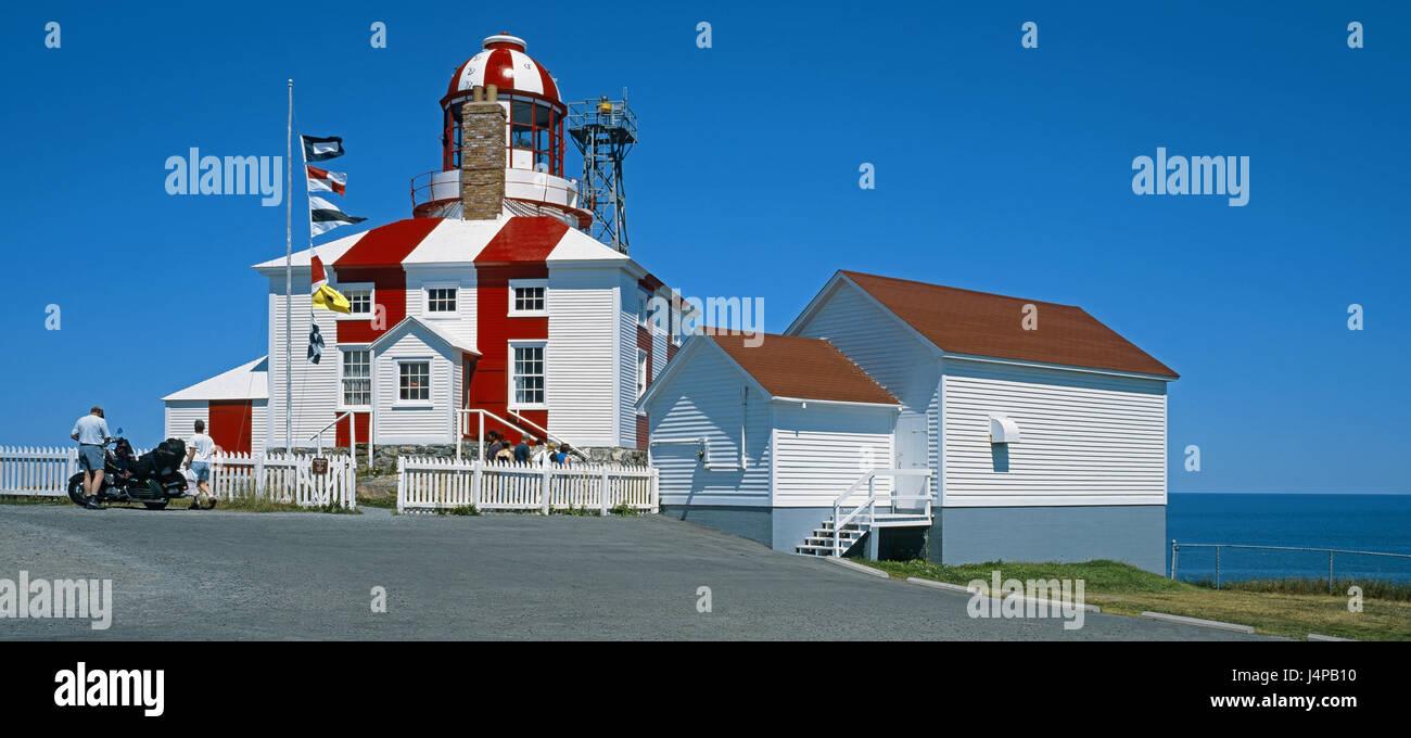 Canada, Newfoundland, cape Bonavista, lighthouse, coast, shore, sea, destination, motorcyclist, building, house, - Stock Image