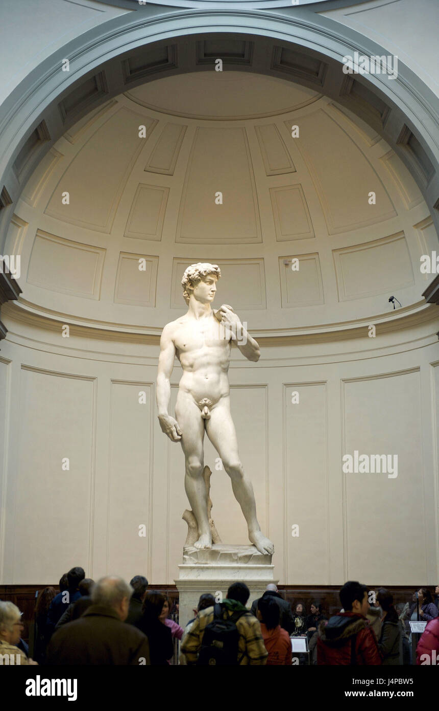 Italy, Tuscany, Florence, Galleria of dell' Academia, David Statue, Michel Angelo, - Stock Image