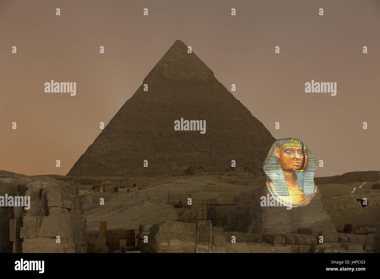 Light show in the pyramids of Gizeh, Egypt, Cairo, Stock Photo