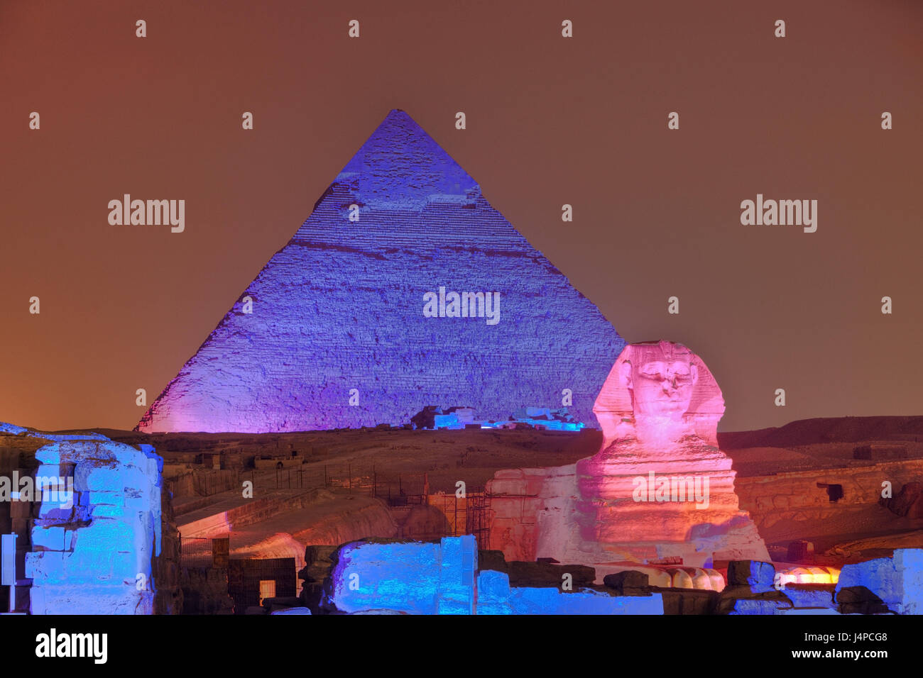 Light show in the pyramids of Gizeh, Egypt, Cairo, - Stock Image