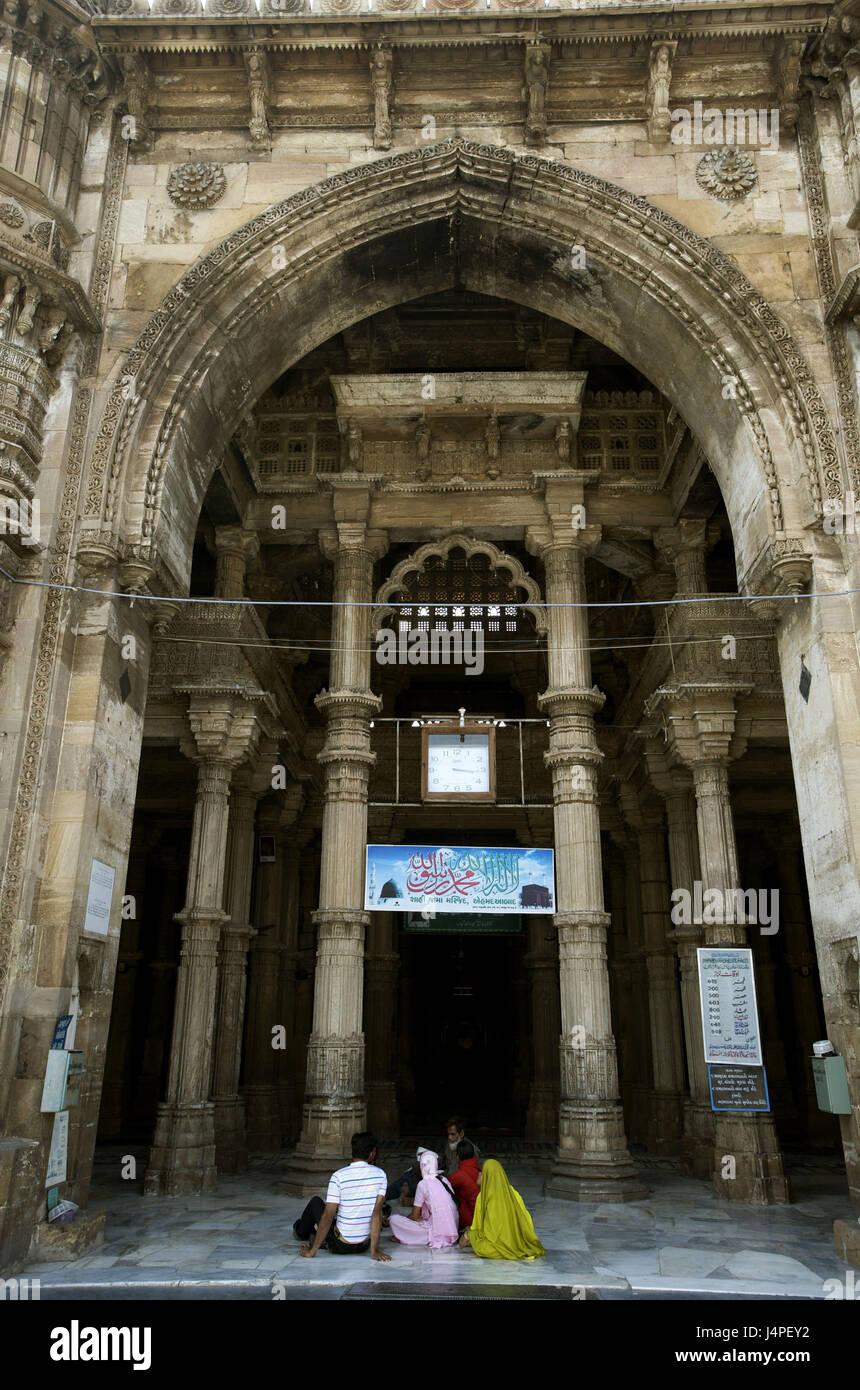 India, Gujarat, Ahmedabad, Jama Masjid, mosque, - Stock Image