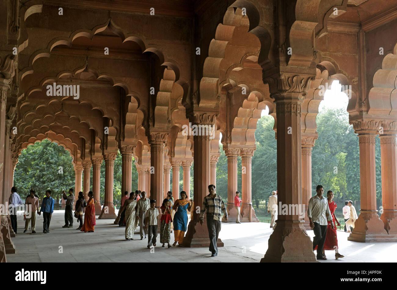 India, Delhi, Old Delhi, Red fort, divan I AM, hall of the public consultations, - Stock Image