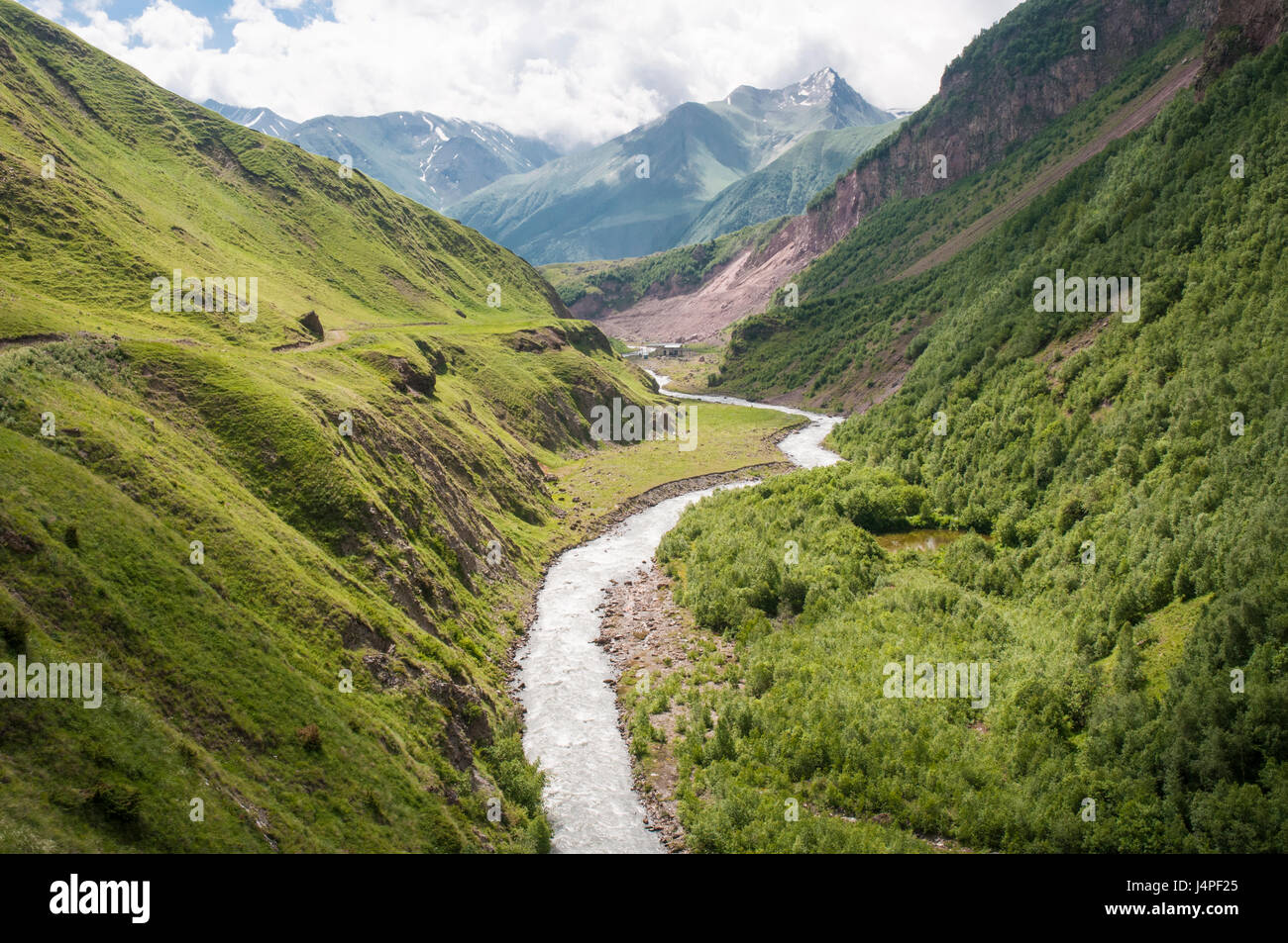 Truso Valley in the High Caucasus, Georgia, bordering the Russian-sponsored renegade territory of South Ossetia - Stock Image