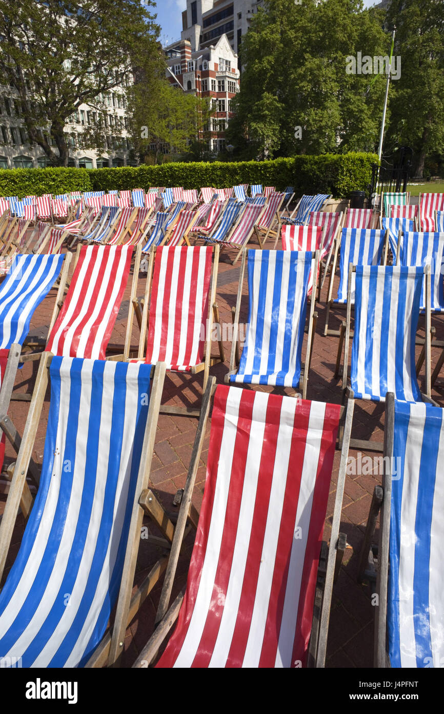 Great Britain, England, London, Embankment cooking tooth, deck chairs, - Stock Image