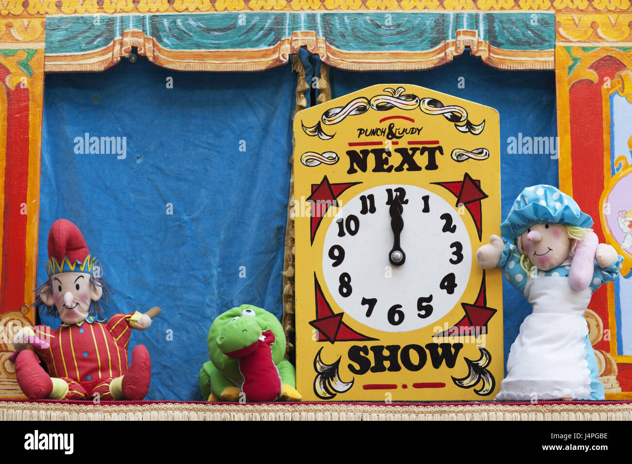 Great Britain, England, Kasperltheater, characters, tip, clock, - Stock Image