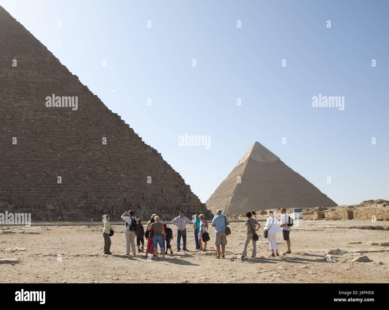 Egypt, Gizeh, pyramids, tourist group, Africa, structures, place of interest, landmark, person, tourist, tourism, Stock Photo