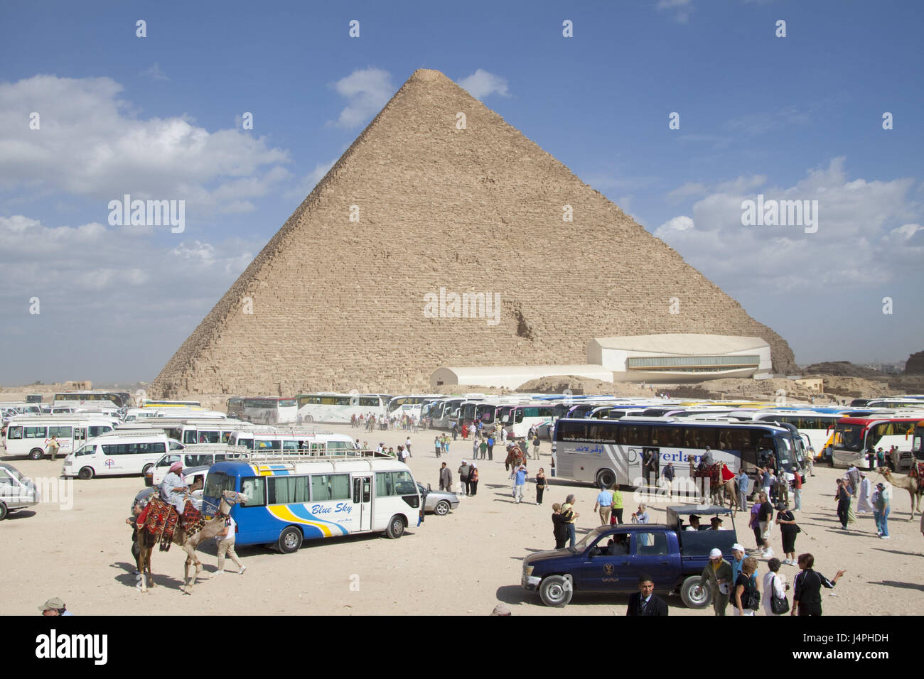 Egypt, pyramids of Gizeh, tour buses, tourists, people, pyramid, holiday buses, park, camel, nomad, ride, people, - Stock Image