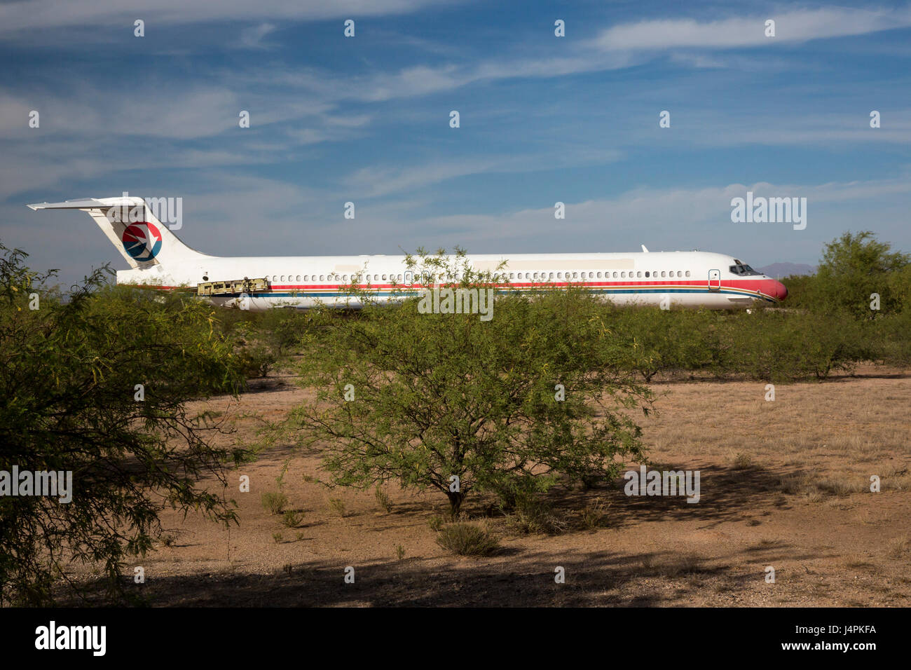 Marana, Arizona - Unused commercial jet airliners are stored at the Pinal Airpark in the Sonoran Desert. Some airliners - Stock Image