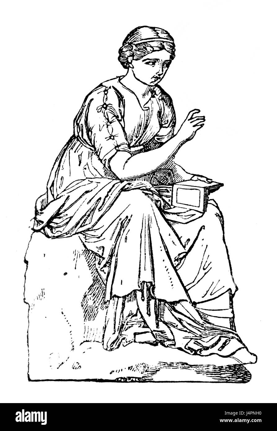 Calliope, the muse of eloquence and epic poetry in Greek mythology - Stock Image