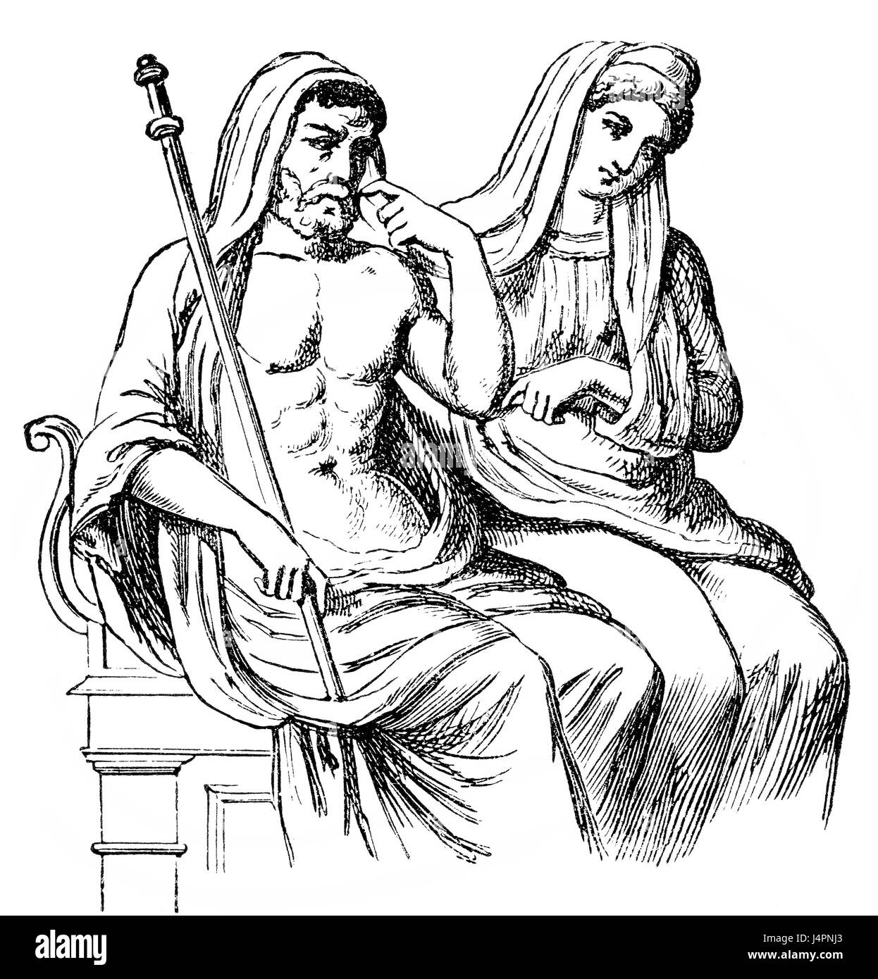 Pluto, the ruler of the underworld with Proserpina, classical mythology - Stock Image