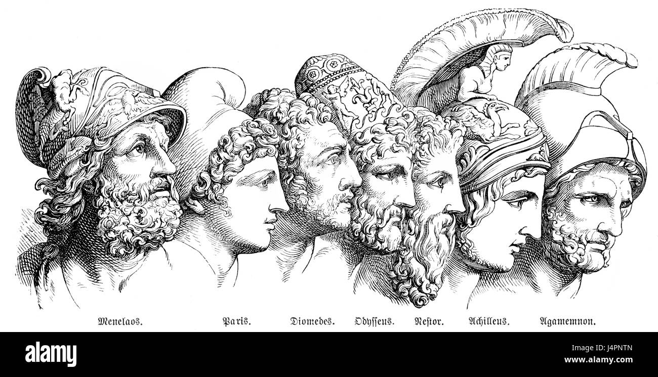The heroes of the Trojan War: Menelaos, Paris, Diomedes, Odysseus, Nestor, Achilles, Agamemnon - Stock Image