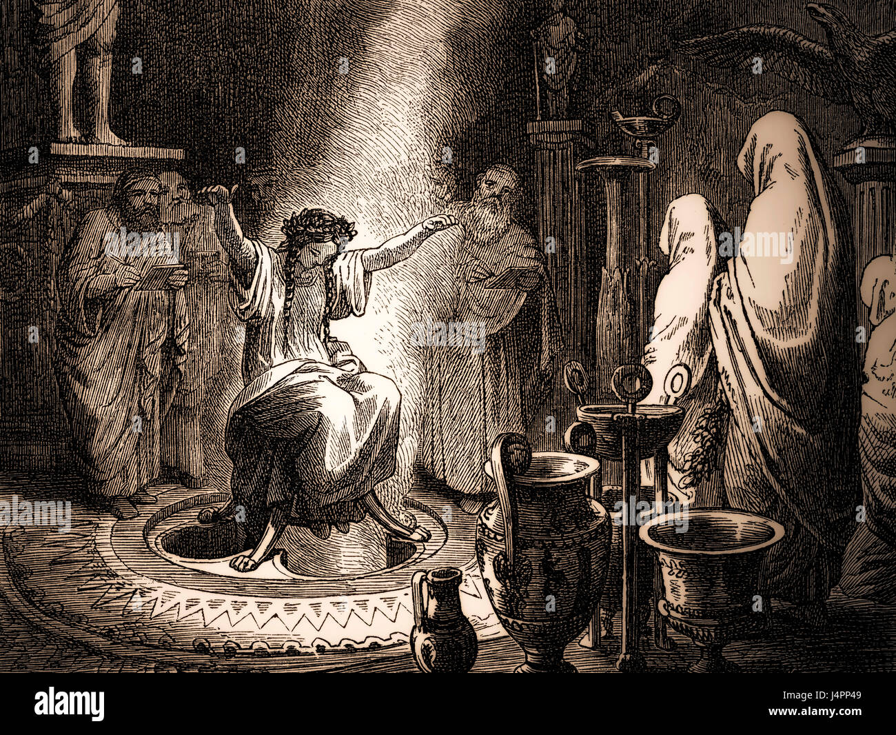 Pythia, the High Priestess of the Temple of Apollo at Delphi,  Oracle of Delphi, Ancient Greece - Stock Image