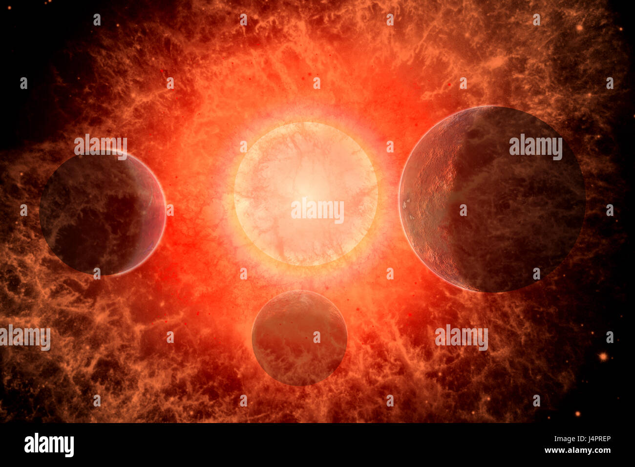 A Supernova , The Destructive End Of A Dying Star. - Stock Image