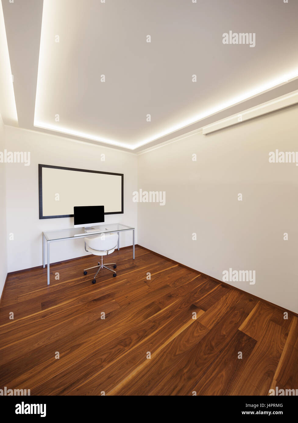 Modern office minimalist, white wall and parquet Stock Photo
