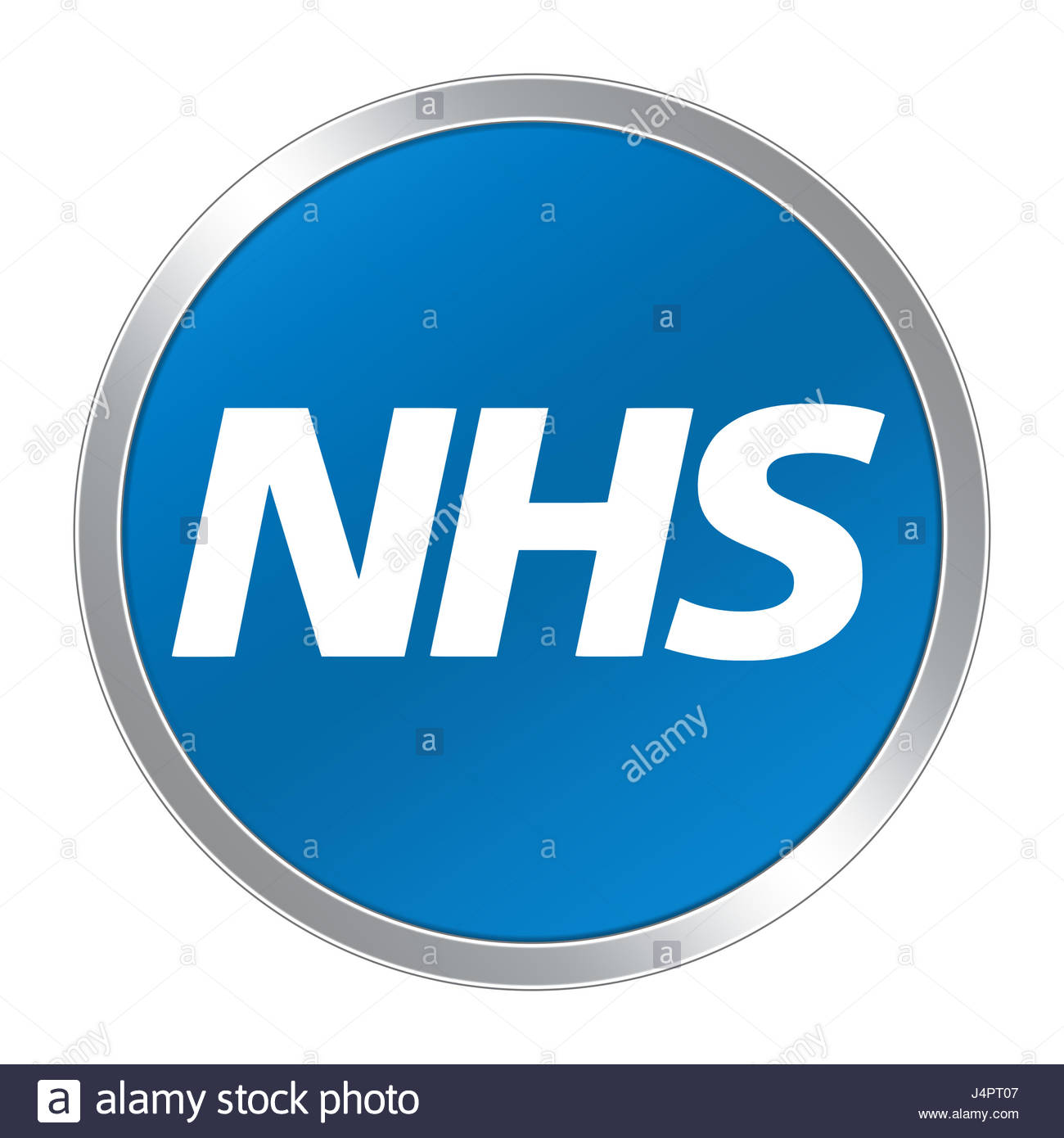 NHS button icon logo - Stock Image