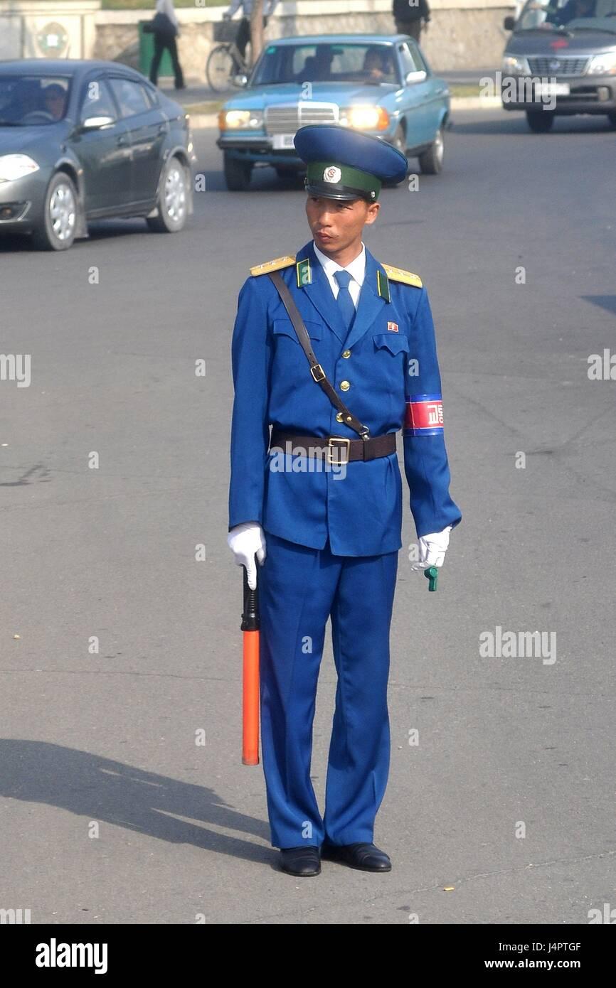 Traffic Policeman in Pyongyang, North Korea - Stock Image