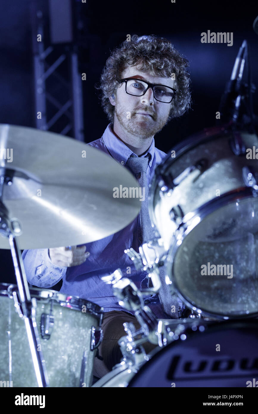 Public Service Broadcasting performing live in concert at the Edinburgh Usher hall  Public Service Broadcasting - Stock Image
