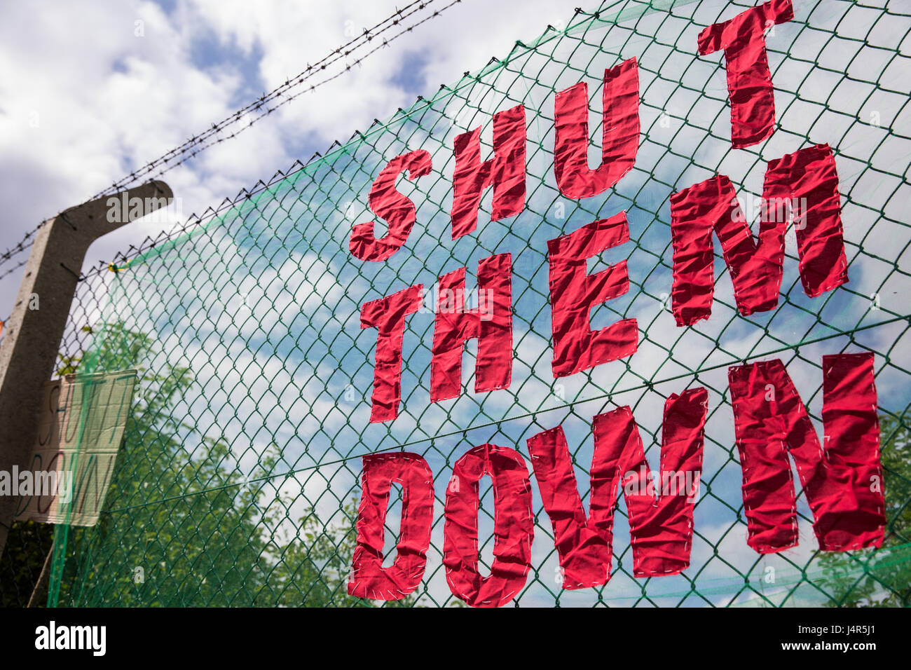 Milton Ernest, UK. 13th May, 2017. A banner at a large protest organised by Movement For Justice By Any Means Necessary - Stock Image