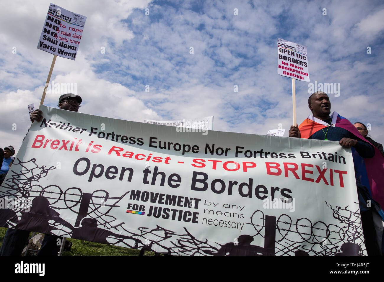 Milton Ernest, UK. 13th May, 2017. Activists from Movement For Justice By Any Means Necessary address a large protest - Stock Image