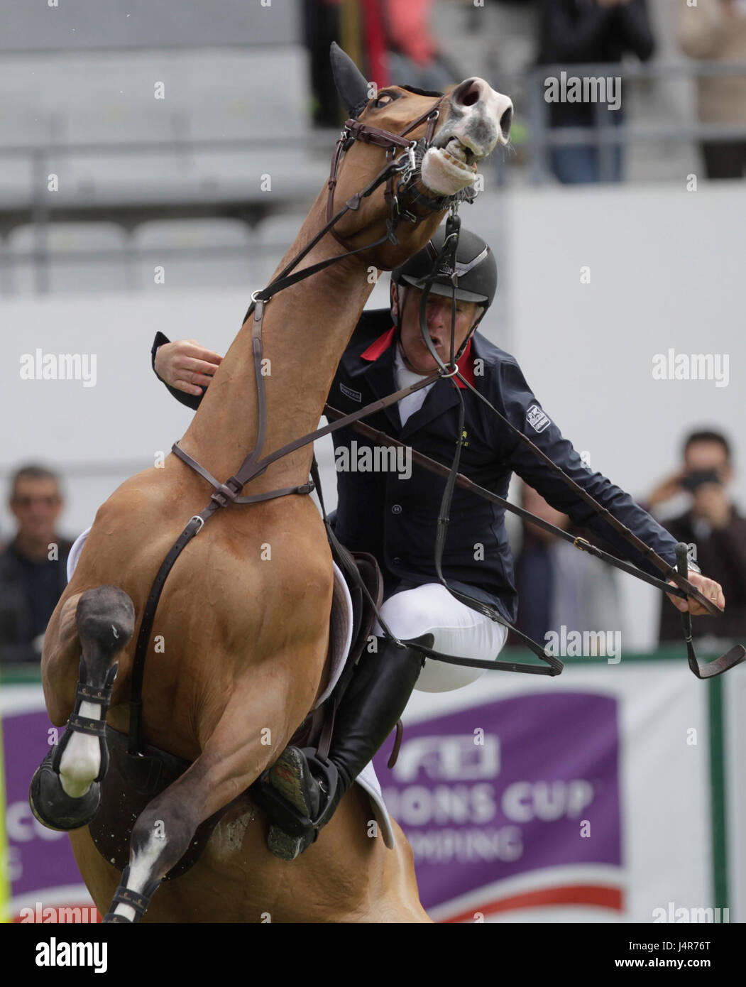 La Baule May 12th 2017 le Francais Roger Yves Bost (Sangria du Coty ) during the international jumping of the Longines - Stock Image