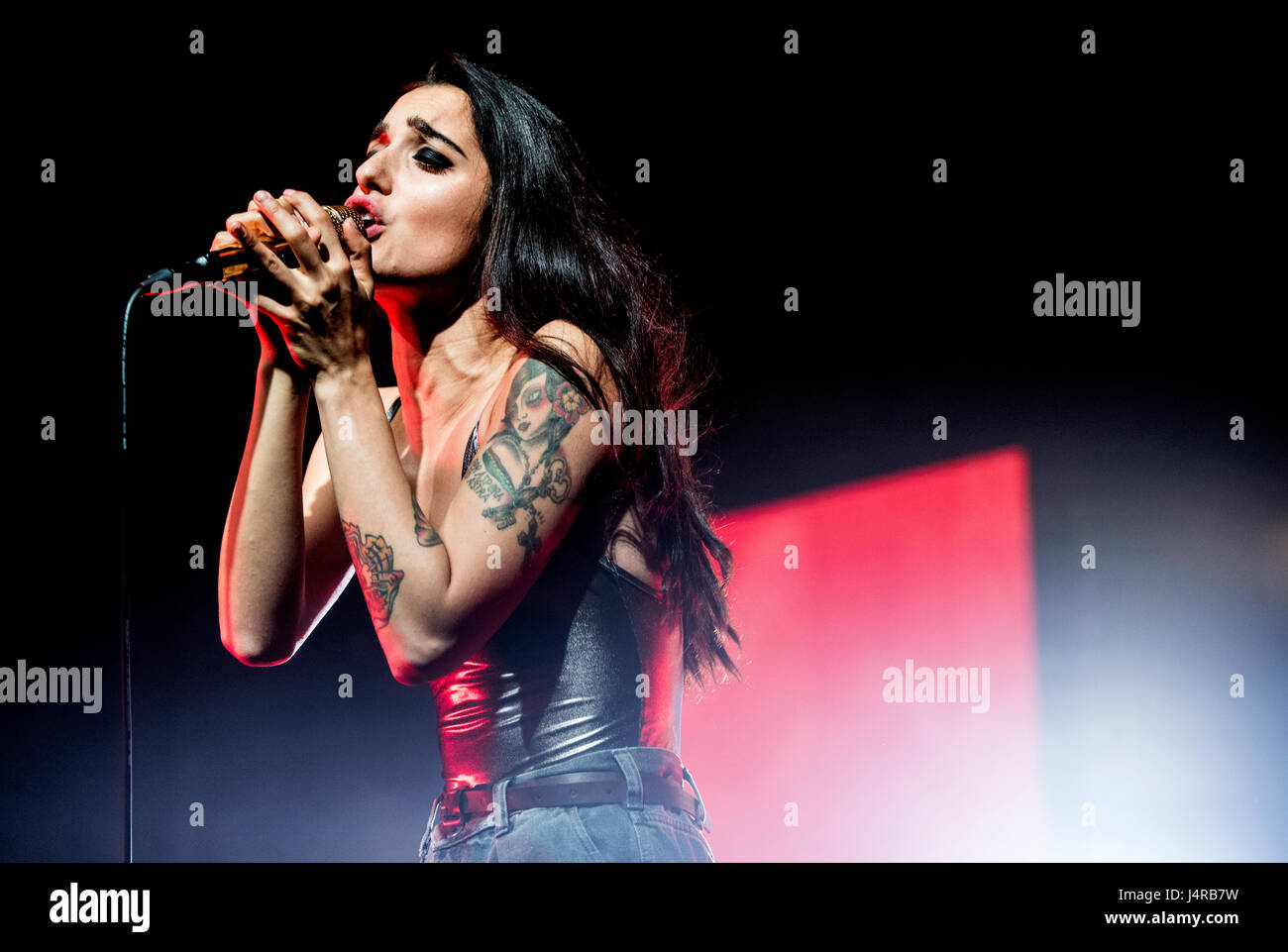 Venaria Reale, Italy. 13th May, 2017.  The italian singer Levante (Claudia Lagona) performs at Teatro della Concordia Stock Photo