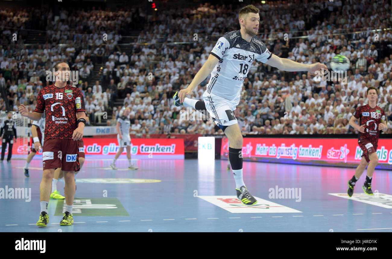Kiels Niclas Ekberg In Action During The German Handball Bundesliga Match Between Thw Kiel And Fuechse Berlin At The Sparkassen Arena In Kiel Germany