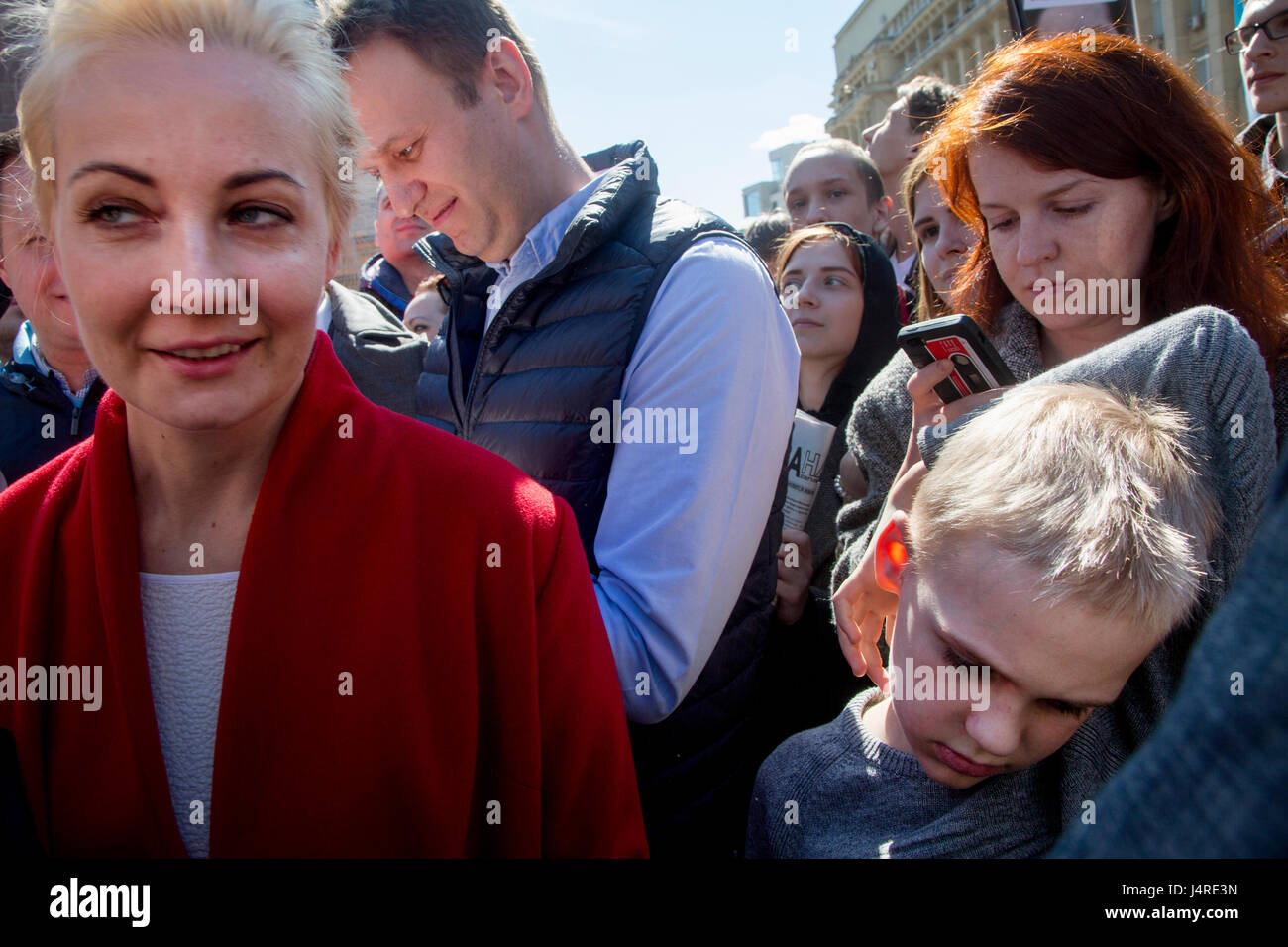 Moscow, Russia. 14th May, 2017. Alexei Navalny, his wife ...