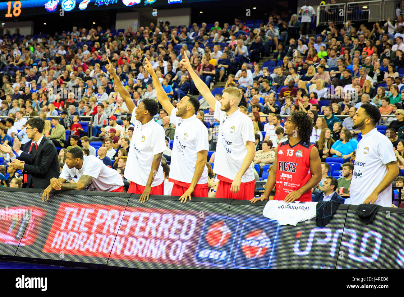 O2 Arena, London, UK, 14th May 2017. The Riders bench. Tensions run high at the BBL basketball  Playoff Final 2017 - Stock Image