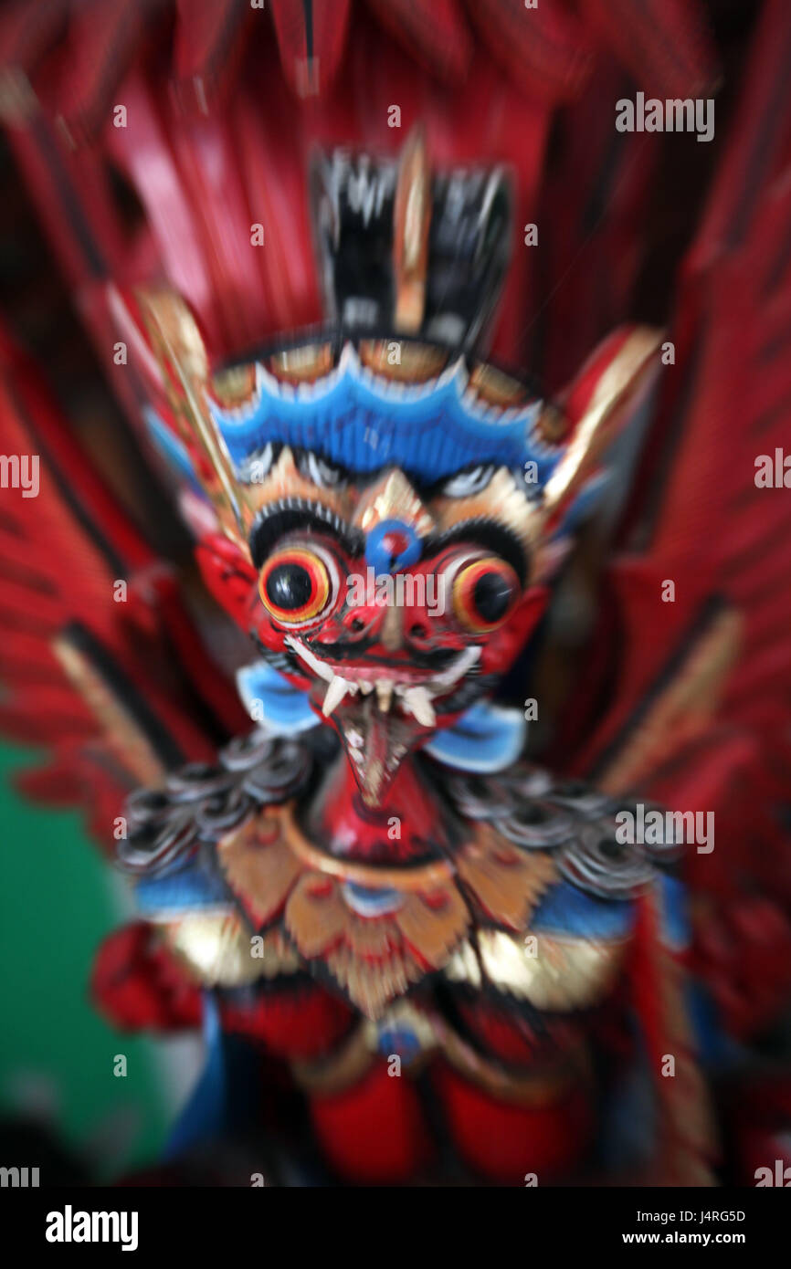 Indonesia, Bali, island, Ubud, temple, Goa Gajah, character, wooden character, blur, - Stock Image