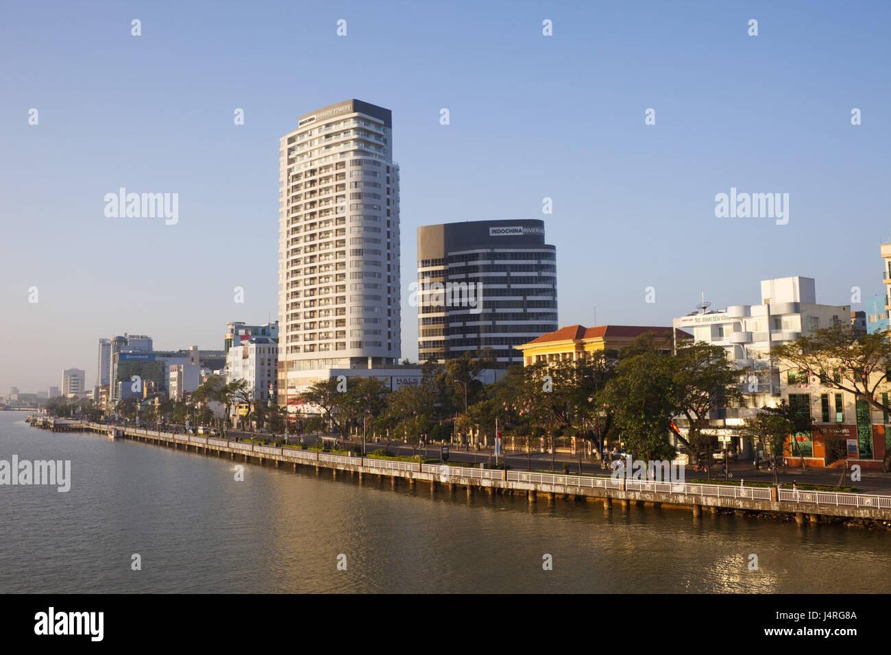 Vietnam, Danang, skyline and Han Fluss, - Stock Image