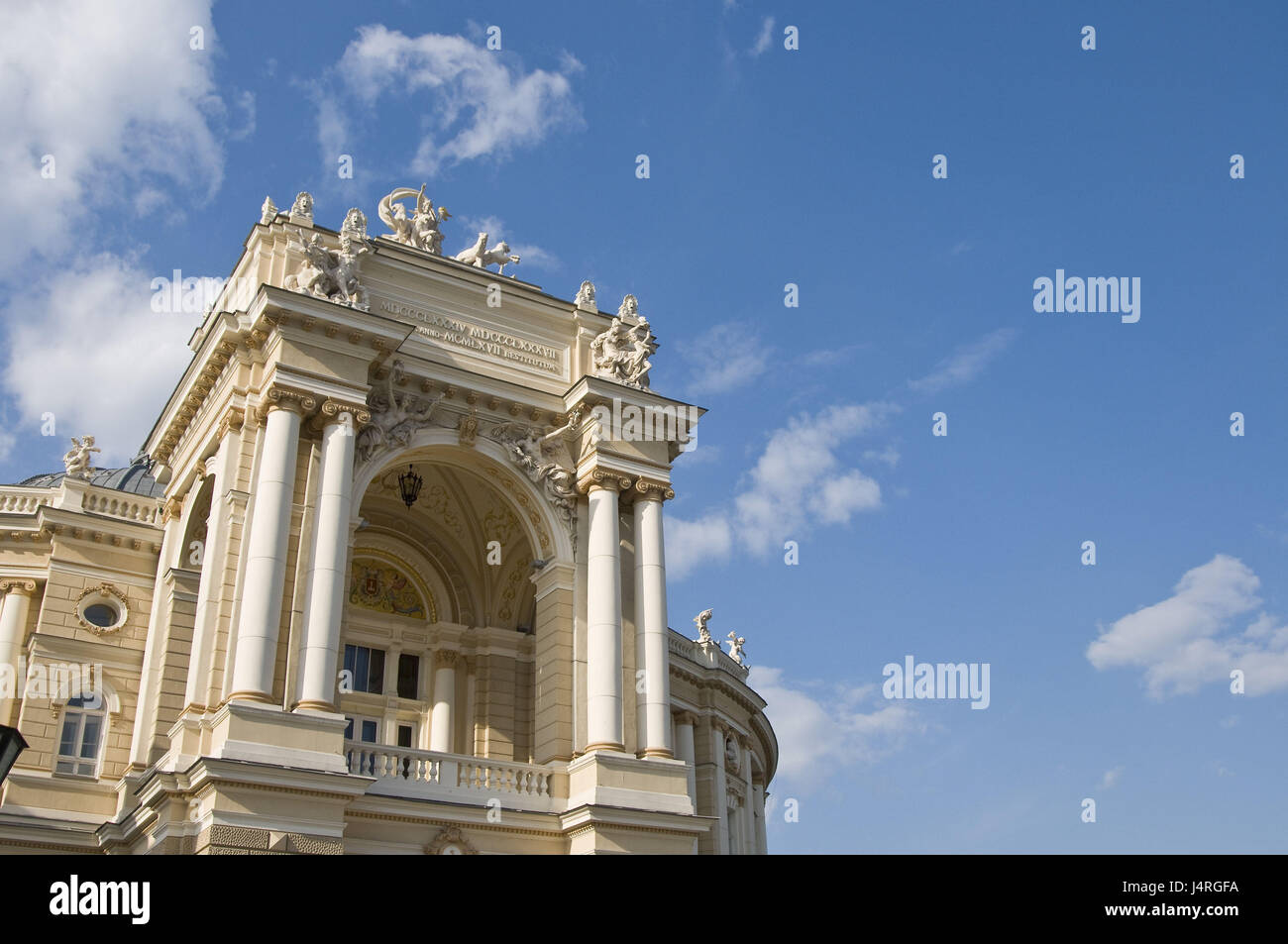 Gable of the opera-house in Odessa, - Stock Image
