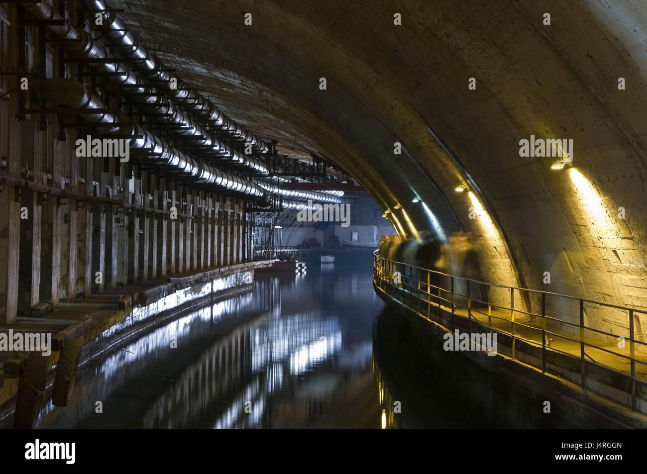 Submarine bunker, Balaklawa, the Crimea, nuclear-bombproof, submarine base, secretly, the military, - Stock Image