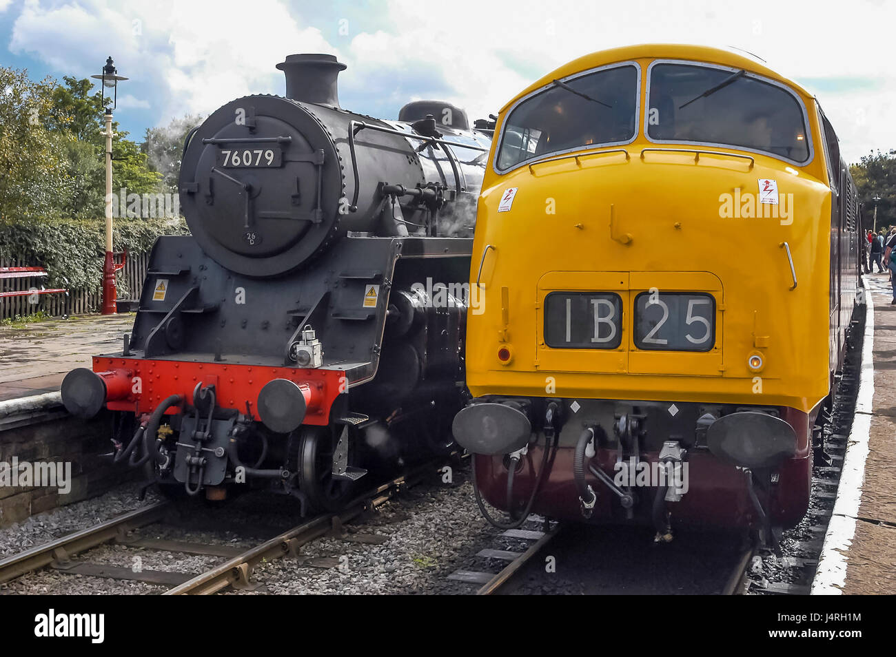 East Lancs railway steam trains at Ramsbottom station. Sept 2003 Steam loco The Dawlish Donkey and D832 is one of - Stock Image
