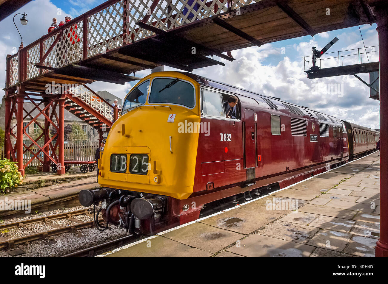 East Lancs railway steam trains at Ramsbottom station. Sept 2003 D832 is one of two preserved Class 42 'Warships' - Stock Image