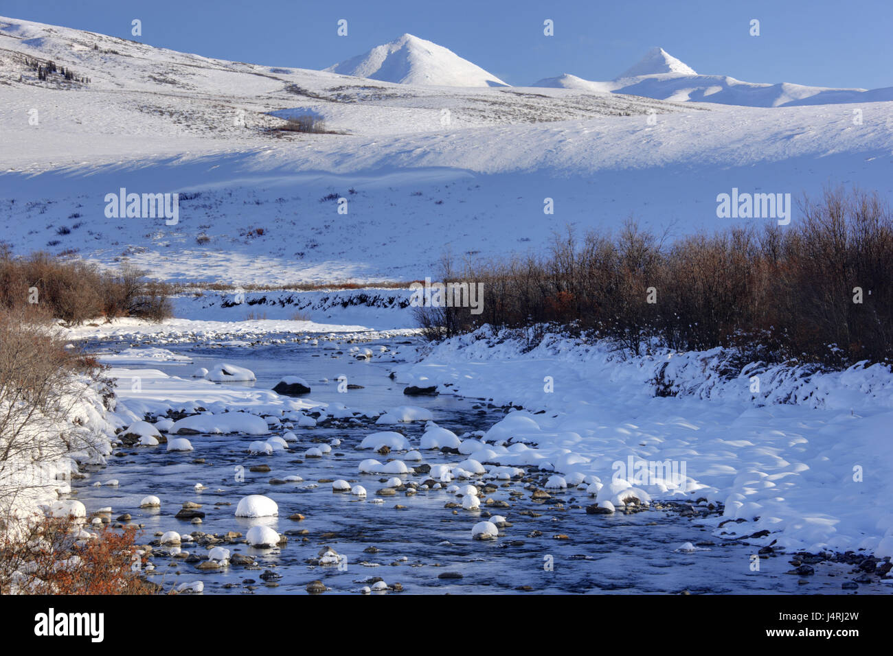 North America, Canada, Yukon territory, Tombstone Territorial park, Dempster highway, Ogilvie Mountains, winter, - Stock Image