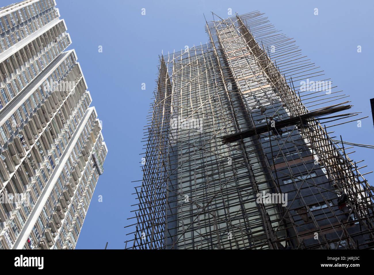 China, Hong Kong, high rise, bamboo scaffolding, - Stock Image