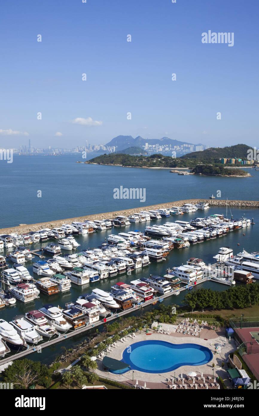 China, Hong Kong, Lantau, Discovery Bay, yacht harbour, - Stock Image