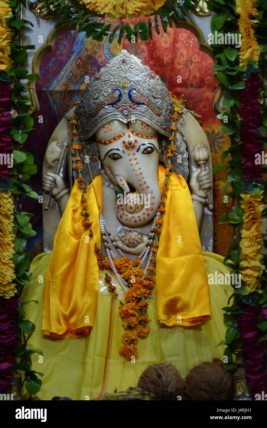 Best-known and most worshiped deities GANESHA - Stock Image